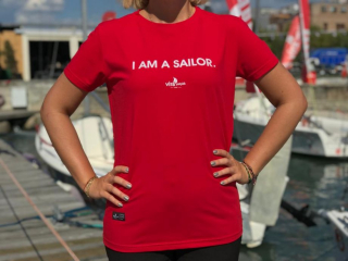 """I AM A SAILOR"" Crew Neck T-Shirt - Kırmızı"