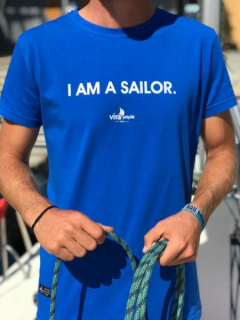 """I AM A SAILOR"" Crew Neck T-Shirt - Mavi"